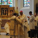 Msgr. Jeffrey N. Steenson greets Deacon Stockstill after his ordination to the diaconate.